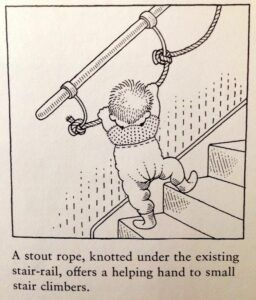 a rope banister at a childs height